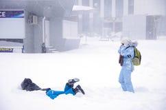 Tempête de neige à Kiev Photographie stock