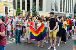 Kiev, Ukraine - 23 juin 2019 Mars d'égalité Marche KyivPride de LGBT D?fil? homosexuel images stock