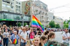 Kiev, Ukraine - 23 juin 2019 Mars d'égalité Marche KyivPride de LGBT D?fil? homosexuel image libre de droits