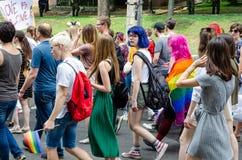 Kiev, Ukraine - 23 juin 2019 Mars d'égalité Marche KyivPride de LGBT D?fil? homosexuel photographie stock libre de droits