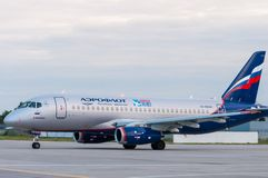 KIEV, UKRAINE - JULY 10, 2015: Aeroflots  SSJ 195 Royalty Free Stock Photography