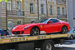 Kiev, Ukraine, July 13, 2015. Ferrari 599 Alonso Edition 60F1. Car on a tow truck stock images