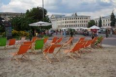 Kiev, Ukraine - July 17, 2018: Improvised beach on Kontraktova Square. During the city festival stock photos