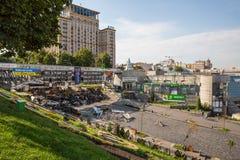 KIEV UKRAINE-JULY 24: Maidan Nezaleznosti 24, 2014 i Kiev, U Royaltyfria Foton