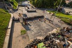 KIEV UKRAINE-JULY 24: Maidan Nezaleznosti 24, 2014 i Kiev, U Fotografering för Bildbyråer