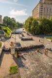 KIEV UKRAINE-JULY 24: Maidan Nezaleznosti 24, 2014 i Kiev, U Arkivbilder