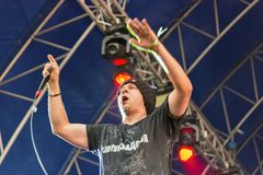 TNMK hip-hope group live at Atlas Weekend Festival. Kiev, Ukraine royalty free stock photography