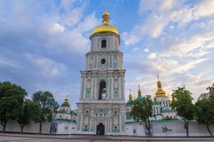 Saint Sophia`s Cathedral, Kiev. KIEV , UKRAINE - JUNE 05 : The cathedral of Saint Sophia in Kiev , Ukraine on June 05 2017 The cathedral is unesco world heritage royalty free stock photography