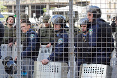 Kiev, Ukraine - June 12, 2016: Cordon of police clad in armor Stock Image