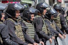 Kiev, Ukraine - June 12, 2016: Cordon of police wearing armor wh Stock Images