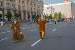 Kiev, Ukraine - June 19, 2016: Men dressed as animators Royalty Free Stock Image