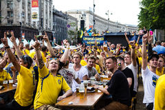 KIEV, UKRAINE - JUNE 10: Swedish fans have fun during UEFA Euro Royalty Free Stock Images