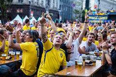 KIEV, UKRAINE - JUNE 10: Swedish fans have fun during UEFA Euro Royalty Free Stock Photos