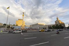 Kiev, Ukraine - June 16, 2016: View to Independence Monument at Maidan Nezalezhnosti royalty free stock photos