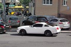 Kiev, Ukraine. June 10, 2017. White Ford Mustang royalty free stock photos