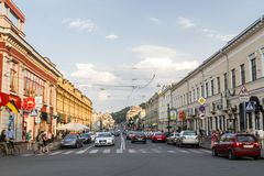 Kiev,Ukraine. July 21,2017:One summer day in one of the central districts of Kiev. In the afternoon, heavy human and vehicle traffic Stock Images