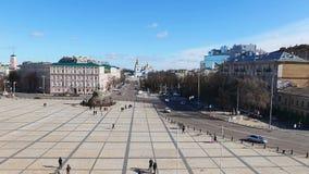 KIEV, UKRAINE, le monument de Khmelnytsky banque de vidéos