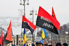 Kiev, Ukraine Les nationalistes ukrainiens démontrent au centre de la ville avec les drapeaux d'UPA photo libre de droits