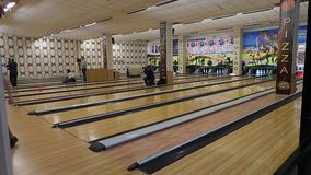 Bowling machine, bowling strike. Kiev, Ukraine, March 10 .2017. Bowling club. bowl rolls along the bowling track and strikes a strike stock video
