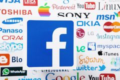 KIEV, UKRAINE - MARCH 10, 2017: Facebook, instagram, youtube, google, pinterest logotype printed on paper. Mock up. Top view and a. Bove. Selective focus Stock Photos