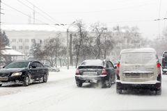 Kiev, Ukraine - March 1, 2018.  Heavy snowfalls , frost and blizzard in Eastern Europe. Traffic jam. Abnormal frost and weather at Royalty Free Stock Photography