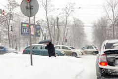Kiev, Ukraine - March 1, 2018.  Heavy snowfalls , frost and blizzard in Eastern Europe. Traffic jam. Abnormal frost and weather at Stock Photo
