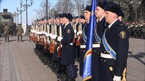 The honor guard of the Ukrainian army shows tricks with weapons. Young soldiers are armed with weapons. Kiev, Ukraine - March 22, 2018: The honor guard of the stock video