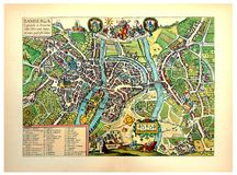 City map of Bamberg. Kiev, Ukraine - March 24, 2018: ILLUSTRATIVE EDITORIAL The reproduction of antique engraving of city map of Bamberg with the inscriptions in Royalty Free Stock Photos