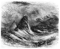 Lighthouse at sea during a storm. Kiev, Ukraine - March 24, 2018: ILLUSTRATIVE EDITORIAL The reproduction of antique engraving that shows the lighthouse at sea vector illustration