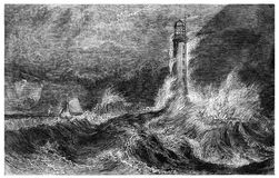 Lighthouse at sea during a storm. Kiev, Ukraine - March 24, 2018: ILLUSTRATIVE EDITORIAL The reproduction of antique engraving that shows the lighthouse at sea stock illustration