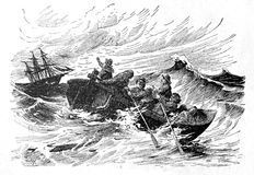 Mariners are in distress. Kiev, Ukraine - March 24, 2018: ILLUSTRATIVE EDITORIAL The reproduction of antique engraving that shows the sailors who sail on the Royalty Free Stock Photo