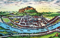Antique map of a medieval European city. Kiev, Ukraine - March 31, 2018: ILLUSTRATIVE EDITORIAL The reproduction of antique map of a medieval European city as Royalty Free Stock Images