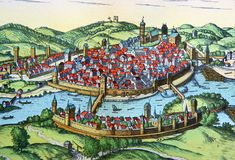 Antique map of a medieval European city. Kiev, Ukraine - March 31, 2018: ILLUSTRATIVE EDITORIAL The reproduction of antique map of a medieval European city as Royalty Free Stock Photo