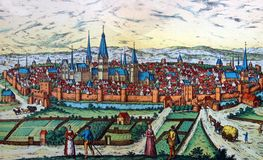 Antique map of a medieval European city. Kiev, Ukraine - March 31, 2018: ILLUSTRATIVE EDITORIAL The reproduction of antique map of a medieval European city as Stock Photos