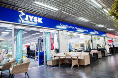 Kiev, Ukraine - March 22, 2017: Jysk is Danish retail chain sell. Ing household goods. Scandinavian sleeping and living Royalty Free Stock Photography