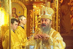 Kiev, Ukraine, March 12.2016. Metropolitan of Kiev Onufry conduc Royalty Free Stock Photos
