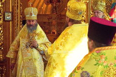 Kiev, Ukraine, March 12.2016. Metropolitan of Kiev Onufry conduc Royalty Free Stock Images