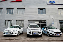 Kiev, Ukraine - March 22, 2017: New Ford Fiesta, Focus and Kuga Royalty Free Stock Image