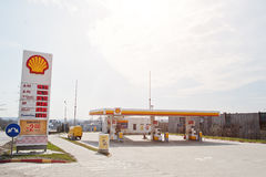 Kiev, Ukraine - March 22, 2017: Shell gas station. Royal Dutch S. Hell oil company is the 5th largest company worldwide royalty free stock images