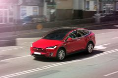 Kiev, Ukraine; March 3; Tesla Model X in motion. Tesla Model X in motion stock photo