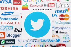 KIEV, UKRAINE - MARCH 10, 2017: Twitter, instagram, youtube, google, pinterest logotype printed on paper. Mock up. Top view. And above Stock Image