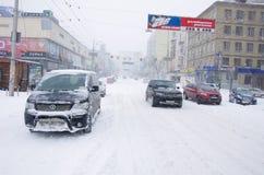 Tempête de neige à Kiev Images libres de droits