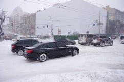 Tempête de neige à Kiev Photos libres de droits
