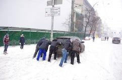 Tempête de neige à Kiev Images stock