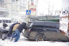 Tempête de neige à Kiev Photo libre de droits
