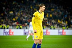 Kiev, UKRAINE - 14 mars 2019 : Andreas Christensen pendant la correspondance d'UEFA Europa League entre Dynamo Kiev contre Chelse photo stock
