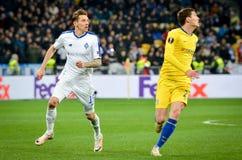 Kiev, UKRAINE - 14 mars 2019 : Andreas Christensen pendant la correspondance d'UEFA Europa League entre Dynamo Kiev contre Chelse photographie stock libre de droits