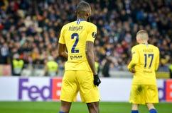 Kiev, UKRAINE - 14 mars 2019 : Antonio Rudiger pendant la correspondance d'UEFA Europa League entre Dynamo Kiev contre Chelsea (L photos stock