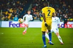 Kiev, UKRAINE - 14 mars 2019 : Antonio Rudiger pendant la correspondance d'UEFA Europa League entre Dynamo Kiev contre Chelsea (L photo stock