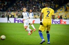 Kiev, UKRAINE - 14 mars 2019 : Antonio Rudiger pendant la correspondance d'UEFA Europa League entre Dynamo Kiev contre Chelsea (L photos libres de droits
